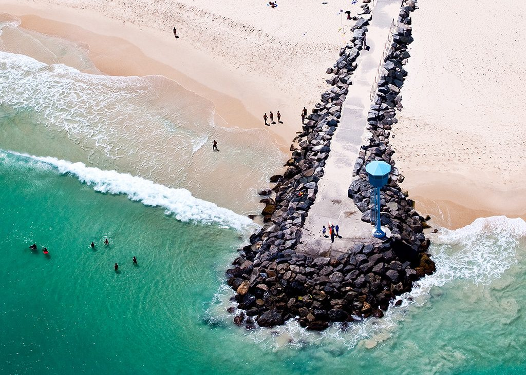 birds eye view of Perth shore line