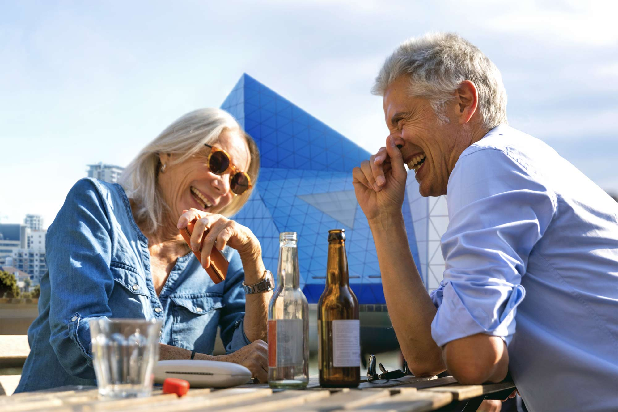 A retired couple enjoying lunch in Perth